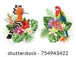 tropical summer arrangements... | Shutterstock .eps vector #754943422