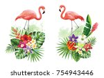 tropical summer arrangements... | Shutterstock .eps vector #754943446