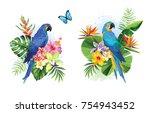tropical summer arrangements... | Shutterstock .eps vector #754943452