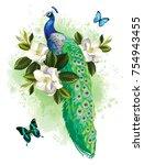 tropical summer arrangement... | Shutterstock .eps vector #754943455