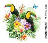 tropical summer arrangement... | Shutterstock .eps vector #754943458