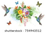 tropical summer arrangements... | Shutterstock .eps vector #754943512