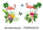 tropical summer arrangements...   Shutterstock .eps vector #754943515