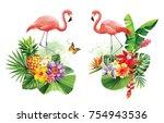 tropical summer arrangements... | Shutterstock .eps vector #754943536