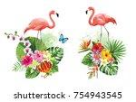 tropical summer arrangements... | Shutterstock .eps vector #754943545