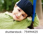 portrait of beautiful smiling... | Shutterstock . vector #75494425