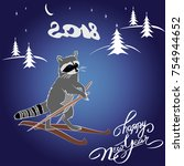 spruce forest and funny racoon... | Shutterstock .eps vector #754944652