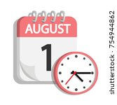 calendar mark with clock in... | Shutterstock .eps vector #754944862