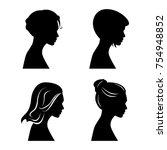 pretty girls silhouettes | Shutterstock .eps vector #754948852