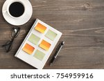 work place top view organizer... | Shutterstock . vector #754959916