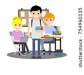 cartoon flat illustration   two ... | Shutterstock .eps vector #754960135