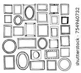 hand drawn frames big set.... | Shutterstock .eps vector #754960732
