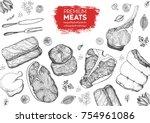 meat top view frame. vector...   Shutterstock .eps vector #754961086