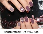 youth manicure design ... | Shutterstock . vector #754963735