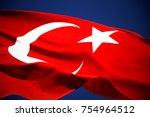 turkish flag is waving    Shutterstock . vector #754964512