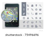 gps phone interface icons set... | Shutterstock .eps vector #75496696