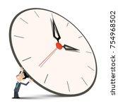 man holding big clock | Shutterstock .eps vector #754968502