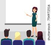 cartoon flat women with pointer ... | Shutterstock .eps vector #754972516