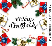 christmas greeting card with... | Shutterstock .eps vector #754973662
