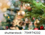 Stock photo beautiful decorated christmas tree holiday background 754974232
