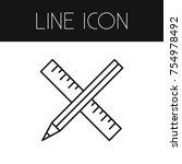 isolated ruler outline. pencil... | Shutterstock .eps vector #754978492