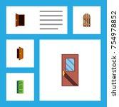 flat icon door set of approach  ... | Shutterstock .eps vector #754978852
