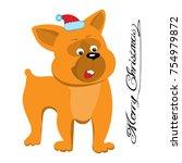 dog comics line drawing .vector ... | Shutterstock .eps vector #754979872