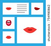 flat icon lips set of kiss ... | Shutterstock .eps vector #754980862