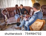 at the psychologist. young... | Shutterstock . vector #754984732