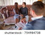 at the psychologist. young... | Shutterstock . vector #754984738