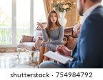 at the psychologist. a girl...   Shutterstock . vector #754984792
