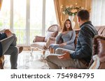 at the psychologist. young... | Shutterstock . vector #754984795