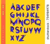 vector alphabet typography logo ... | Shutterstock .eps vector #754984978