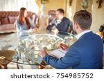 at the psychologist. young...   Shutterstock . vector #754985752