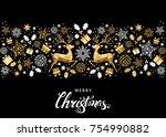 christmas golden  tree... | Shutterstock .eps vector #754990882