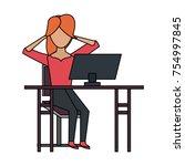 woman with desk computer   Shutterstock .eps vector #754997845