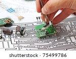 a hand hand with tweezers... | Shutterstock . vector #75499786