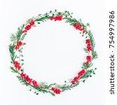 christmas composition. wreath... | Shutterstock . vector #754997986