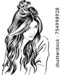 fashion illustration. woman... | Shutterstock .eps vector #754998928