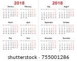 calendar for 2018 year on... | Shutterstock .eps vector #755001286