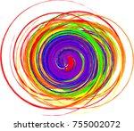 abstract rainbow vortex vector... | Shutterstock .eps vector #755002072
