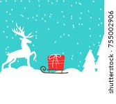 gifts in a snowy woods on new... | Shutterstock .eps vector #755002906