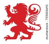 red heraldry lion logo mascot... | Shutterstock .eps vector #755003692