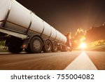 big metal fuel tanker truck in... | Shutterstock . vector #755004082