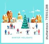 winter holidays. snowy street.... | Shutterstock .eps vector #755011288