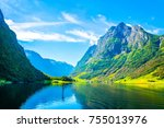 aurlandsfjord   unesco enlisted ... | Shutterstock . vector #755013976