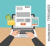 paying taxes online on screen... | Shutterstock .eps vector #755016025