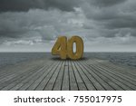 number forty on wooden floor at ... | Shutterstock . vector #755017975