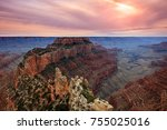 sunset at the grand canyon ... | Shutterstock . vector #755025016