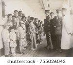 immigration officials examining ... | Shutterstock . vector #755026042